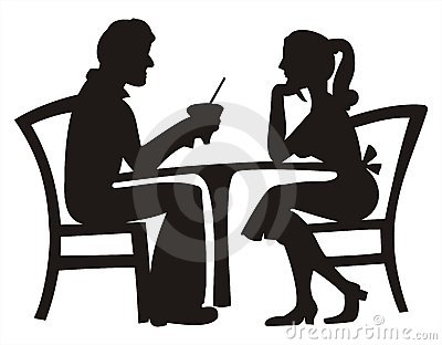 Silhouette of couple dating
