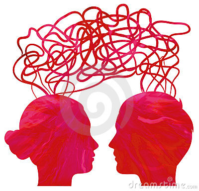 Silhouette of couple heads thinking, relationship