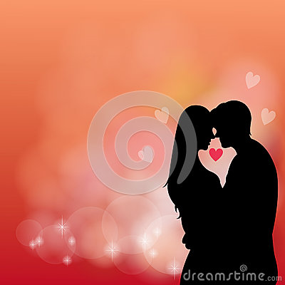 Silhouette couple kissing in the red background