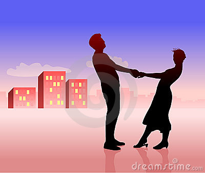Silhouette of couple: man and woman.