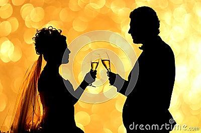 Silhouette couple romance