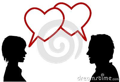 Silhouette couple talk love hearts