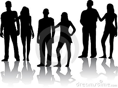 Silhouette of couples people