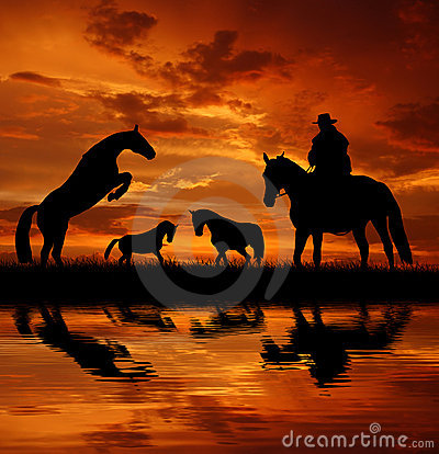 Silhouette cowboy with horses
