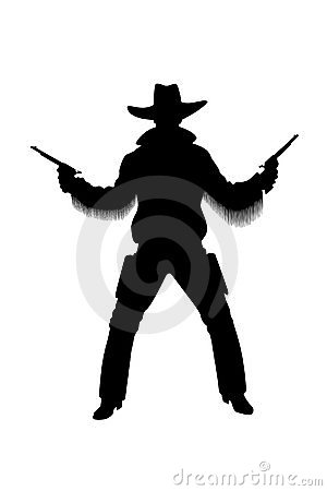 Silhouette of cowboy with revolvers