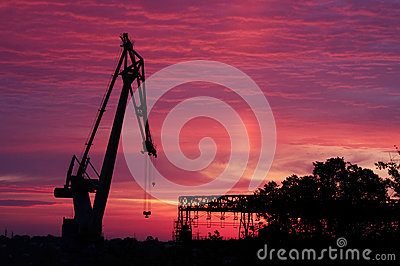 Silhouette of crane at sunrise