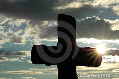 Silhouette of a cross against