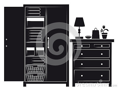 Silhouette of cupboard and chest of drawers