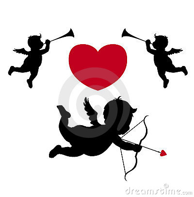 Free Silhouette Cupid And Musician Angels Stock Images - 4189084
