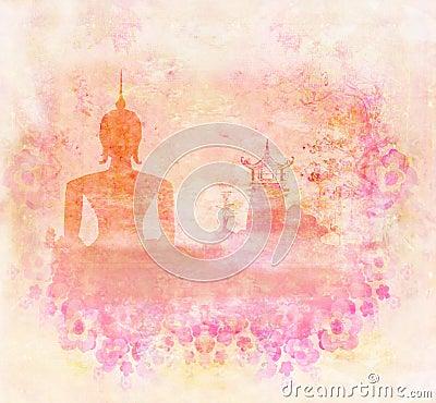 silhouette d 39 un bouddha paysage asiatique dans la texture grunge illustration stock image. Black Bedroom Furniture Sets. Home Design Ideas