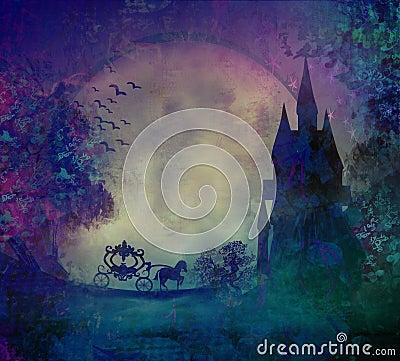 Silhouette d un chariot de cheval et d un mediev