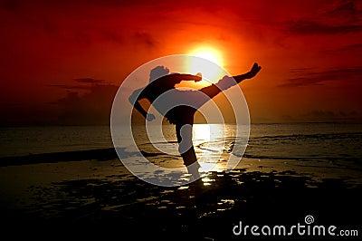 Silhouette d un guerrier d arts martiaux