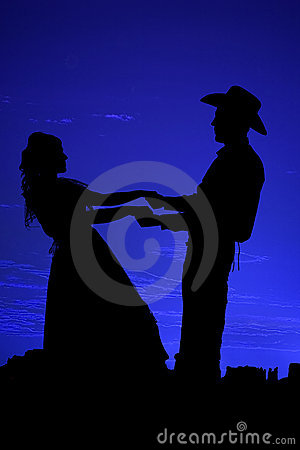 Silhouette dancing couple
