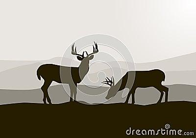 Silhouette de cerfs communs