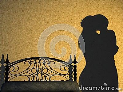 Silhouette de chambre à coucher de couples