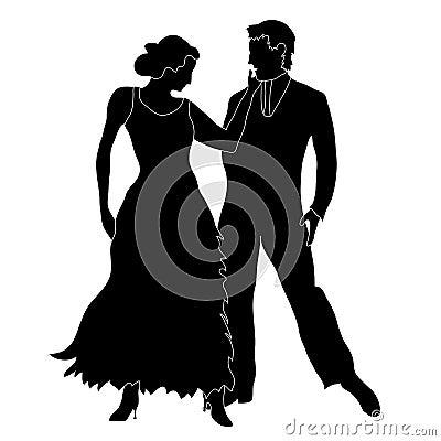 Silhouette de danseurs de salle de bal