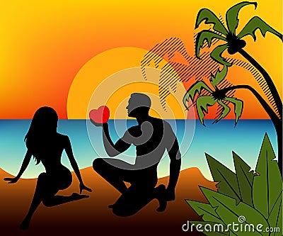 Silhouette de fille et d homme