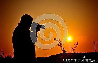 Silhouette de photographe de passe-temps