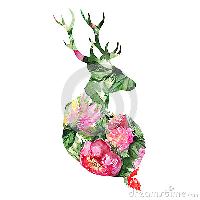 Silhouette deer animal floral flower background isolated Stock Photo