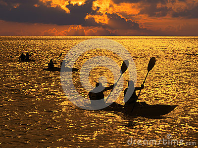 Silhouette des gens ramant dans des kayaks