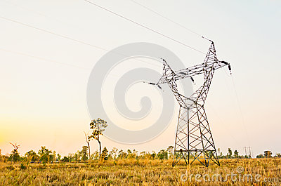 Silhouette of electric cable