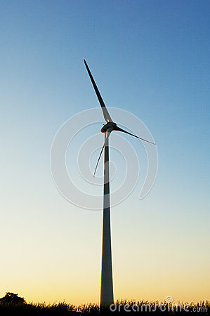 Silhouette of a Electric wind turbines