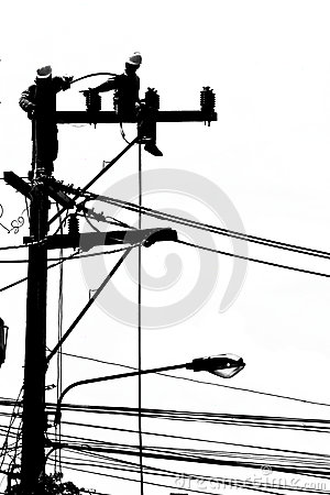 Free Silhouette Electrician Working On Electricity Post Royalty Free Stock Photography - 30002097
