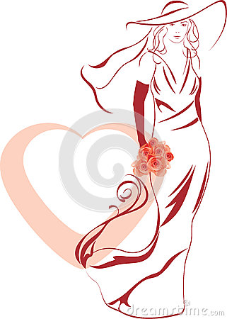 Silhouette of a elegant bride with bouquet in hand