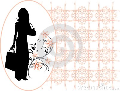 Silhouette elegant woman in the decorative frame