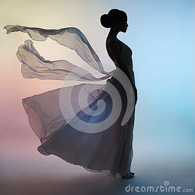 Free Silhouette Elegant Woman In Blowing Dress Royalty Free Stock Image - 85048306