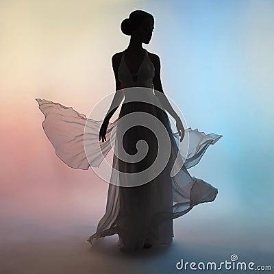 Free Silhouette Elegant Woman In Blowing Dress Stock Photo - 85070640