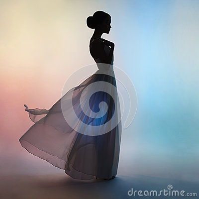 Free Silhouette Elegant Woman In Blowing Dress Royalty Free Stock Photos - 85070648