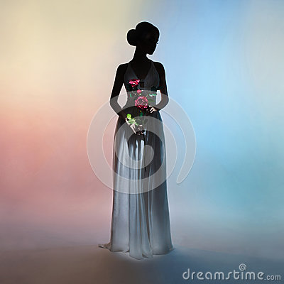Free Silhouette Elegant Woman On Colors Background Stock Images - 85042284