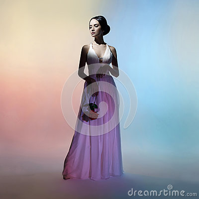 Free Silhouette Elegant Woman On Colors Background Royalty Free Stock Photo - 91669595