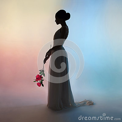Free Silhouette Elegant Woman On Colors Background Royalty Free Stock Image - 91669696