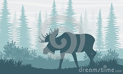 Silhouette. Elk with big horns on the background of Canadian fir trees Vector Illustration