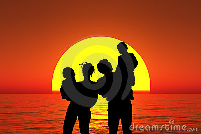 Silhouette family stand on sunset beach, collage