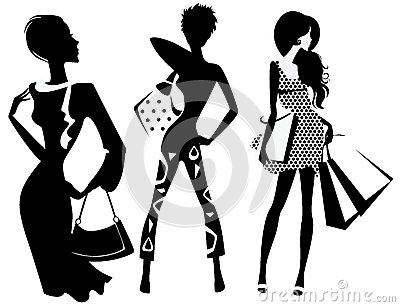 Silhouette of fashion girl with bags