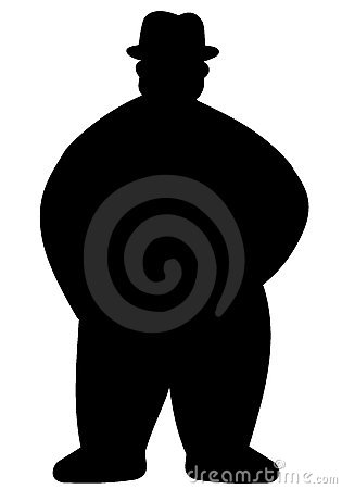 Silhouette of fat man