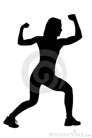 A silhouette of a female athlete