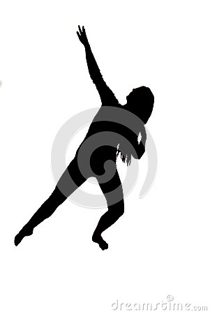 Silhouette of a female dancer with her arm lifted up