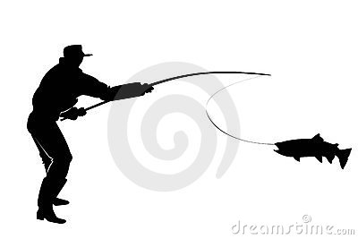 Silhouette of a fisherman with salmon fish