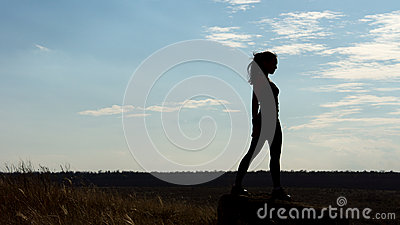 Silhouette of a fit healthy sexy woman