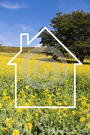 Free Silhouette Frame Of A House, Countryside Stock Images - 52740944