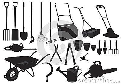 Silhouette garden tools