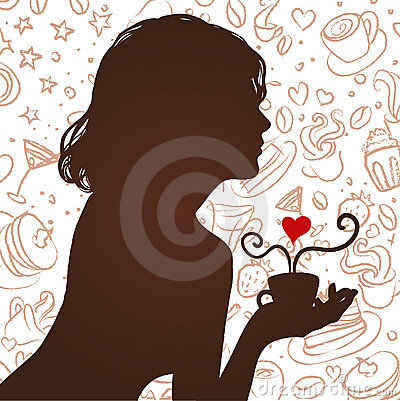 Silhouette of a girl drinking coffee