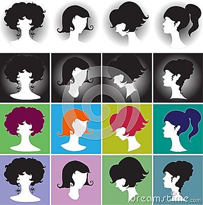 Free Silhouette Girl, Elegant Female Hairstyles Royalty Free Stock Photo - 48930365