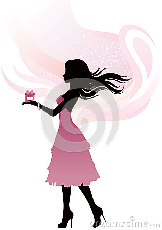 Silhouette of the girl with gift