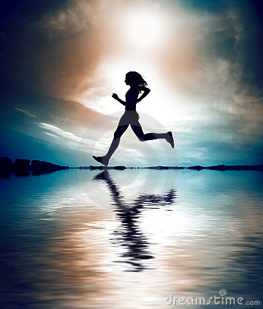 Silhouette of girl running