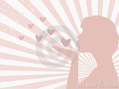 Silhouette of a girl sending love